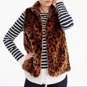 J. Crew Faux-Fur Leopard Vest